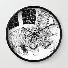 Studio Ghibli Cat Bus Black & White Zentangle Drawing Doodle Wall Clock