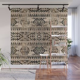 Ethnic Geometric Bark and Wood texture pattern Wall Mural