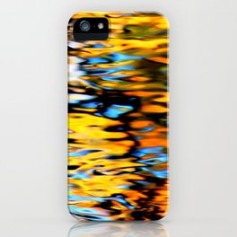 Liquidum Ignis. Fall Tree Reflections in a Pool of Water iPhone Case