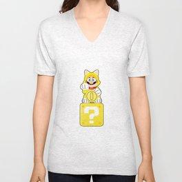 Lucky Cat Mario Unisex V-Neck