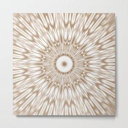 Beige Kaleidoscope Mandala Metal Print