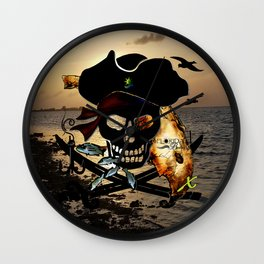 Fishing with a Florida Pirate Wall Clock