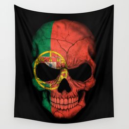 Dark Skull with Flag of Portugal Wall Tapestry
