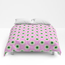 Psychobilly Eyeballs in Retro Pink Comforters