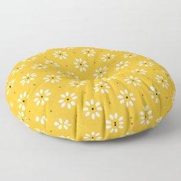 Daisy stitch - yellow Floor Pillow