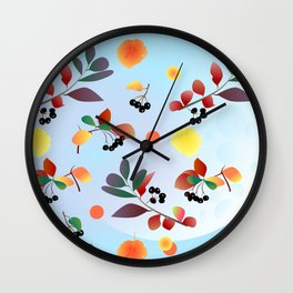 Black chokeberry Wall Clock