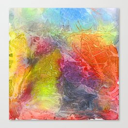 Watercolor multicolored texture, abstract paint stains, crumpled paper, wrinkles Canvas Print