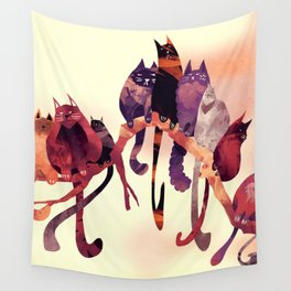 Cat-Birds on a Wire Wall Tapestry