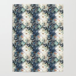 Happy Love Heart Family Pattern Blue Pastel Abstract Poster
