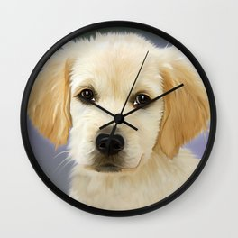 Painting Dog Golden Retriver Face Trusting Puppies Wall Clock