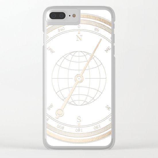 Gold Compass on White Clear iPhone Case
