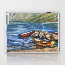 Boats On Lake McDonald Watercolor Laptop & iPad Skin