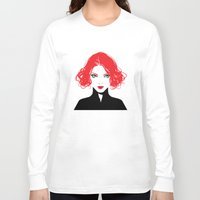 black widow Long Sleeve T-shirts featuring Black Widow by Irene Flores