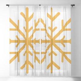 Snowflake (Orange & White) Sheer Curtain