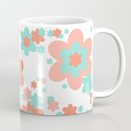 Coral and Mint Green Floral Coffee Mug