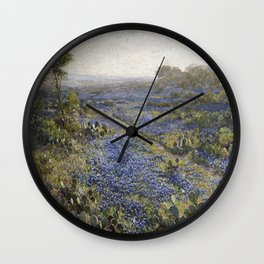 Julian Onderdonk - Field Of Texas Bluebonnets And Prickly Pear Cacti Wall Clock