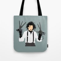 edward scissorhands Tote Bags featuring edward scissorhands by Live It Up