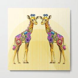 Giraffe Friends Metal Print