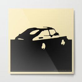 Saab 900 classic, Black on Cream Metal Print