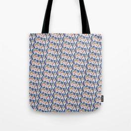 'Pray' Trendy Rainbow Text Pattern (Blue) Tote Bag