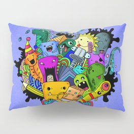 Hand-drawn little funny monsters Pillow Sham