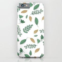 Elegant Forest Green Gold Glitter Greenery Foliage iPhone Case