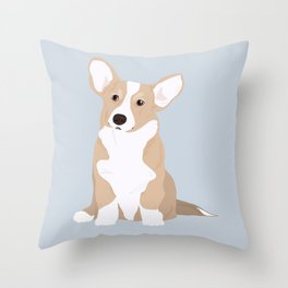 Dog Collection : Welsh Corgi _ blue Throw Pillow