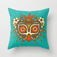 majora Throw Pillows featuring Tiki Majora by Paula García