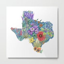 Texas - Floral Watercolor - State of Texas - Nature Travel Art - Texas Native flowers -  Texas State Metal Print