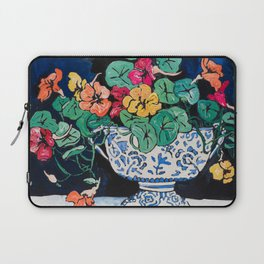 Nasturtium Bouquet in Chinoiserie Bowl on Dark Blue Floral Still Life Painting Laptop Sleeve