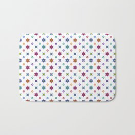 Small Flowers in White Bath Mat