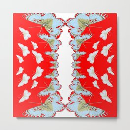 DESIGN PATTERN OF RED & WHITE BUTTERFLIES Metal Print