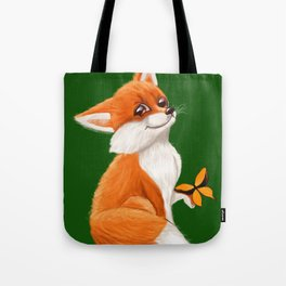 Cute fox playing with a butterfly Tote Bag