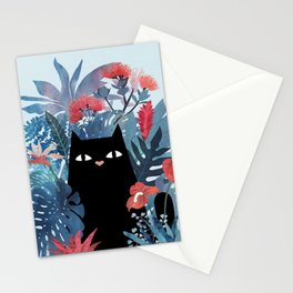 Popoki in Blue Stationery Cards