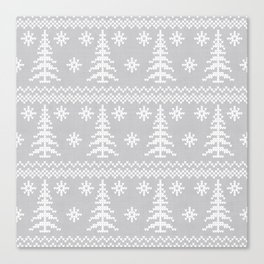 Stitched Evergreens in Grey Canvas Print