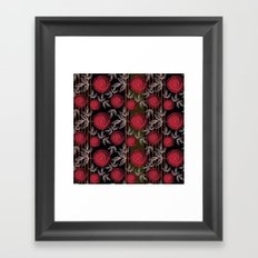 Cute red roses on striped background. Framed Art Print