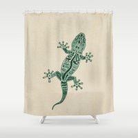 ornate elephant Shower Curtains featuring Ornate Lizard by Barruf