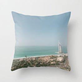 Burj Al Arab from Dubai skies | Travel photography art print photo Throw Pillow