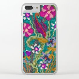 Starry Floral Felted Wool, Turquoise and Pink Clear iPhone Case