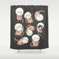 paper Shower Curtains featuring Cat-Stronauts by Drew Brockington