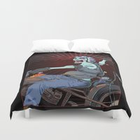 pirate ship Duvet Covers featuring The Same Pirate, Different Ship by MenoTonik