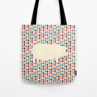 piglet Tote Bags featuring Geometric Piglet  by ArtisanObscure Prints