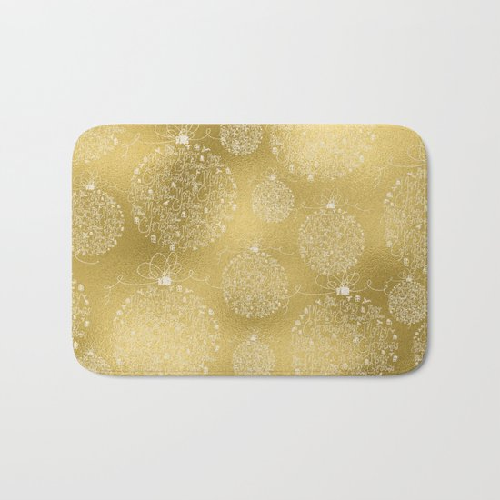 Merry christmas- christmas balls on gold pattern Bath Mat