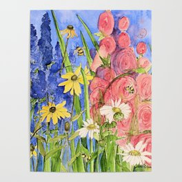 Cottage Garden Delphinium and Hollyhocks Watercolor Poster