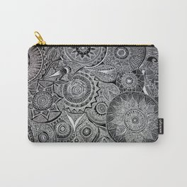 White Pen Mandala Collage Carry-All Pouch