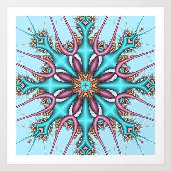 Pastel Pattern Kaleidoscope with optical effects Art Print