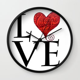 Love word with zen red heart Wall Clock