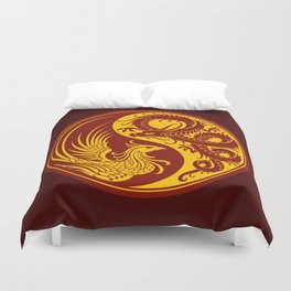 Yellow and Red Dragon Phoenix Yin Yang Duvet Cover