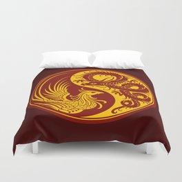 Yellow and Red Dragon Phoenix Yin Yang Duvet Cover