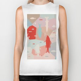 California Pastel Fish Biker Tank